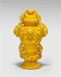 Lot 3 CHINESE CARVED YELLOW GLASS VASE