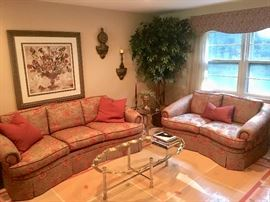 Custom living room sofas & tray top table