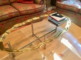 Fab brass & glass tray top table