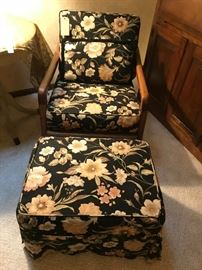 WOOD FRAME ACCENT CHAIRS, ONE WITH OTTOMAN