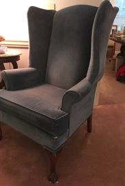 Pair Blue fabric Wingback Chairs