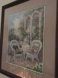 Framed print of Whicker patio chairs