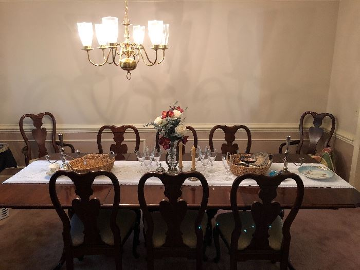Formal dining table and 8 chairs