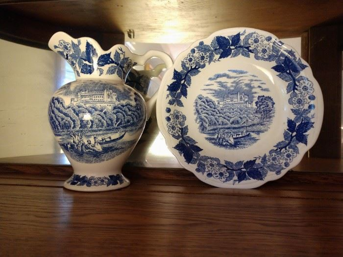 Blue and White pitcher and plate