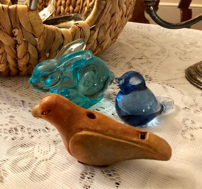 Glass figurines and pottery bird whistle