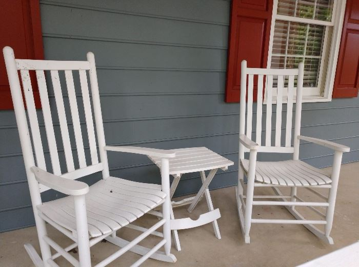 White painted wooden patio rocking chairs