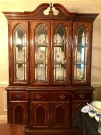 4 door China cabinet with mirrored back