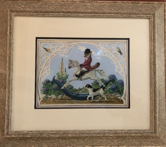 D. Bunn print of hunting fox  on rocking horse with trusted hunting dog
