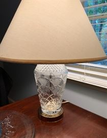 Pair of Crystal base lamps with fan motif