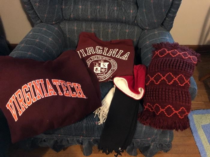 Virginia Tech sweatshirt, hoodie, scarf ~ we have a few more VT collectibles as well