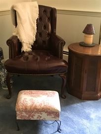 Pair Maroon Tufted Chairs