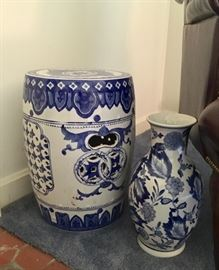 Blue and white Garden Seat and vase