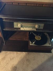 Roma console, shortwave radio and turntable