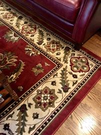 Area Rug in Cream, Red and Sage