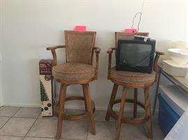 Two  oak bar chairs- do not swivel