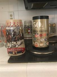 Collector steins- Budweiser and 50th NFL  Anniversary  Steins