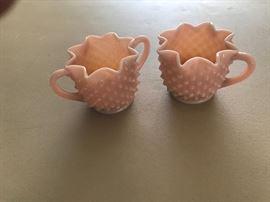 Vintage  pink milk glass sugar bowl and creamer set