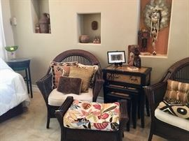 Dark rattan suite, nice nesting tables, African, Mexican  and Native American art