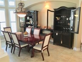 Formal dining table & chairs, two large china cabinets, Russian, Greek, Asian nicknacks, Franciscan dishes, wine glasses