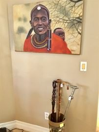 Walking sticks, African oil painting