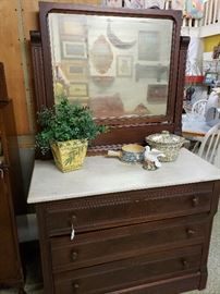vintage marble top dresser with mirror