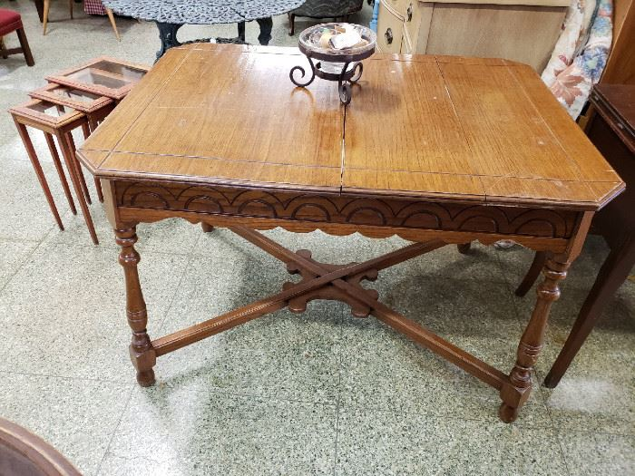 nesting table in background, vintage table foreground