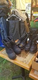 Work Boots, Military Boots, Leather Chaps, Coats, Vest and Riding Gear. (Many Brand New in Boxes