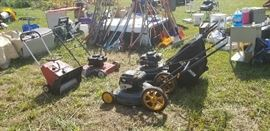 Lawn Mowers, Snow Blower ( All tested & working)  Truck Bed Cover, Yard Tools, Filing Cabinets, Iron Pleant Decor