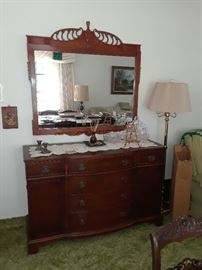 Drexel Buffet, large ornate mirror above