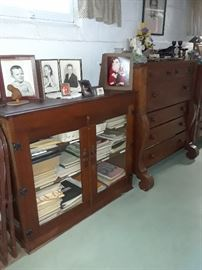 Antique Storage cabinet, glass doors
