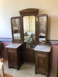 Marble Dresding Mirror. Could easily separate as side tables! bedroom priced individually