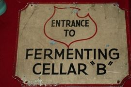 very unusual hand painted metal Lemp Brewery fermenting cellar sign