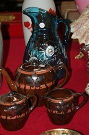 sterlimg overlay redware tea set