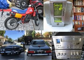 "560 SL MERCEDES, MARANTZ STEREO SYSTEM, HONDA XL350R MOTORCYCLE, ""ASK SWAMI"" 1 CENT COUNTER TOP FORTUNE TELLER NAPKIN HOLDER, BOOKS"