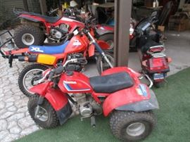 MOTORCYCLES & SCOOTERS HONDA XL350R (Only 52 Miles) HONDA 250 FOURTRAX HONDA 185S ATC (ATV)** HONDA 185S ATC (ATV)** HONDA ELITE 150 HONDA ELITE 150  ** There are two HONDA 185S ATVs that include the trailer that can be hitched to any vehicle. Note:  All motorcycles and scooters were retired to the garage after the owner got older and the family stopped riding altogether. The motorcycles and scooters have been sitting non-operational for many years.  (Brand New Snow Plow for FOURTRAX Never Used)