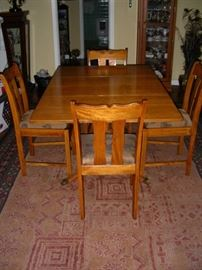 Drop-side dining table and 4 chairs