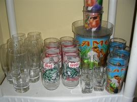 Budweiser glasses, Camel ice bucket and tumblers
