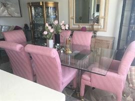 Custom made glass dining room table with 6 chairs