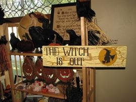 Witch sign, crow, pumpkins