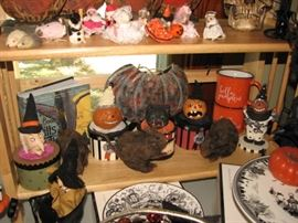 Vintage Halloween & harvest season decor, witches, pumpkins