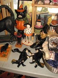 Vintage Halloween & harvest season decor including witches, black cats, pumpkins