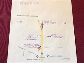 The purple areas are for parking