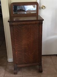 Burled oak antique album/music cabinet