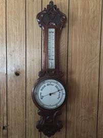 Vintage wood banjo thermometer/barometer