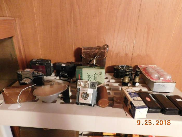 Vintage camera items.