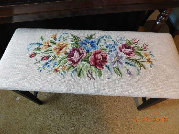 Needlepoint piano bench.