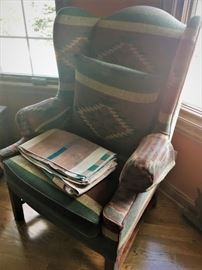 1 of 2 southwestern wing chairs