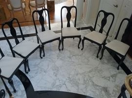 - SET OF 6 BLACK LACQUER CHAIRS WITH WHITE/CRÈME SEATS: Buy with or without dining table.