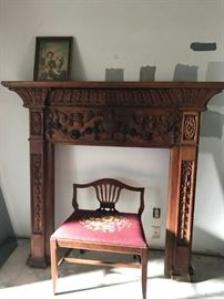 Carved Wood Mantle and embroidered dressing chair
