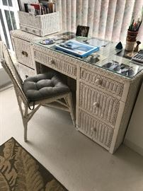 Wicker 4 Drawer Desk, Glass Top and Chair $175